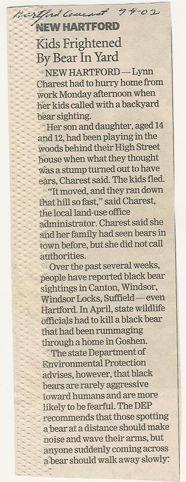2010.299.9.15 Kids Frightened by Bear in Yard  Article
