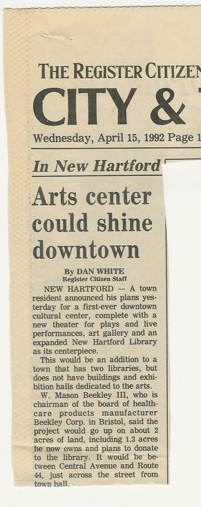 2010.299.9.71 Arts Center Could Shine Downtown, Article, Page 1