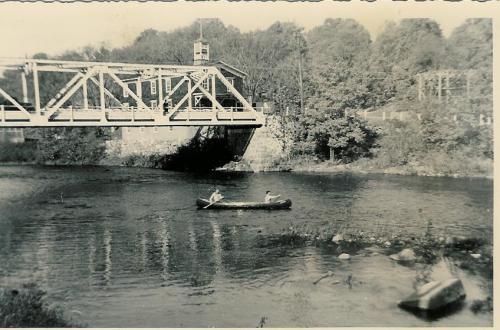 2003.295.01.a Bridge Street Bridge before 1955 flood firehouse in back