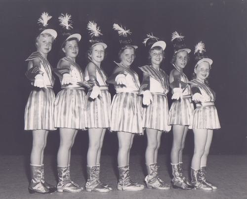 Dance Recital Pine Meadow School, circa 1954 L to R: Bev Hoffmann, Carol Chirico, Gladys Warner, unknown, Barbara Calder, Judy Wassick, unknown, (first name?) Carry Photo: Courtesy of Barbara Calder Krohner